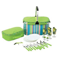 A basic picnic set in a plastic cooler carrier.